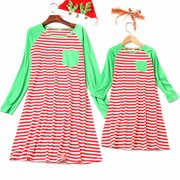 Mother and Daughter Clothes Parent-child Striped Dress Family Matching Outfits