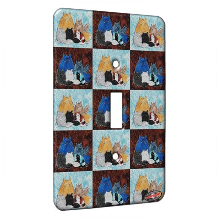 KuzmarK™ Single Gang Toggle Switch Wall Plate - Maine Coon Kitty Family with Blue Swirls Cat Pattern Art by Denise Every