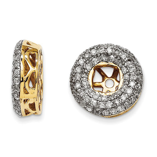 14K Yellow Gold Triple Halo Diamond Earring Jackets, Fits 1/3-1/2ct Stud Earrings
