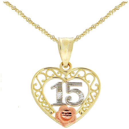 10kt yellow and rose gold quinceanera pendant 18