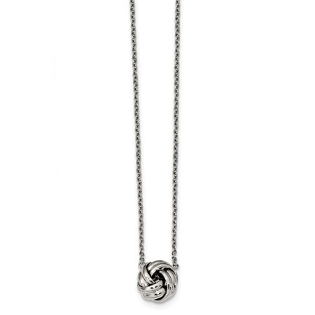 2 Extension Necklace - Stainless Steel Polished Love Knot 16 In With 2 Inch Extension Necklace