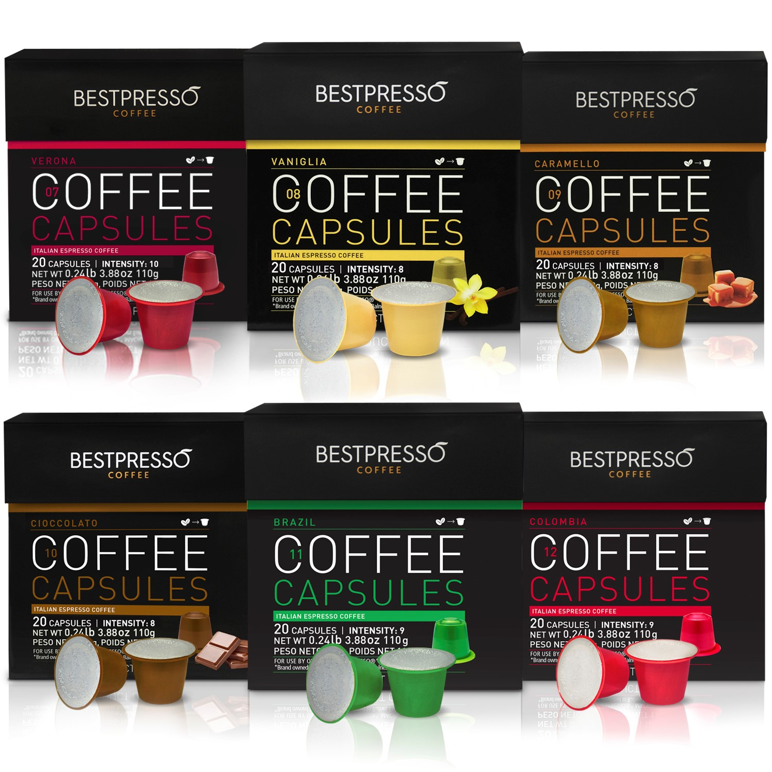 Nespresso Compatible Gourmet Coffee Capsules-120 Pod Variety Pack mix Flavored and Dark roast-For Original Line Nespresso Machine-Certified Genuine Espresso By Bestpresso