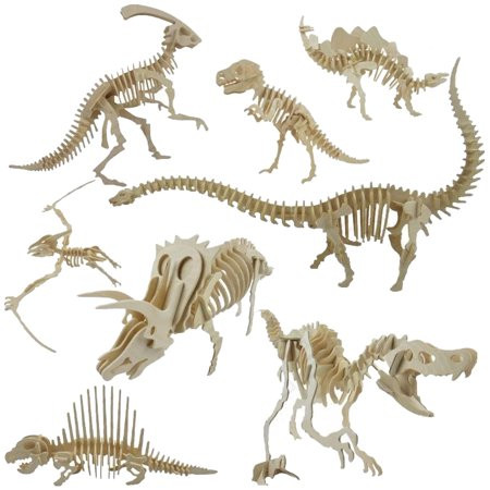 HiCoup Funny 3D Simulation Dinosaur Skeleton Puzzle DIY Wooden Educational Toy for - Skeleton Tights Diy