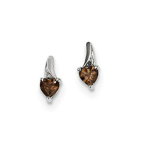 .925 Sterling Silver Genuine Diamond And Smokey Quartz Heart Post Stud Earrings (0.01 CTW, I-J Color, I2 Clarity) Smokey Topaz Stone