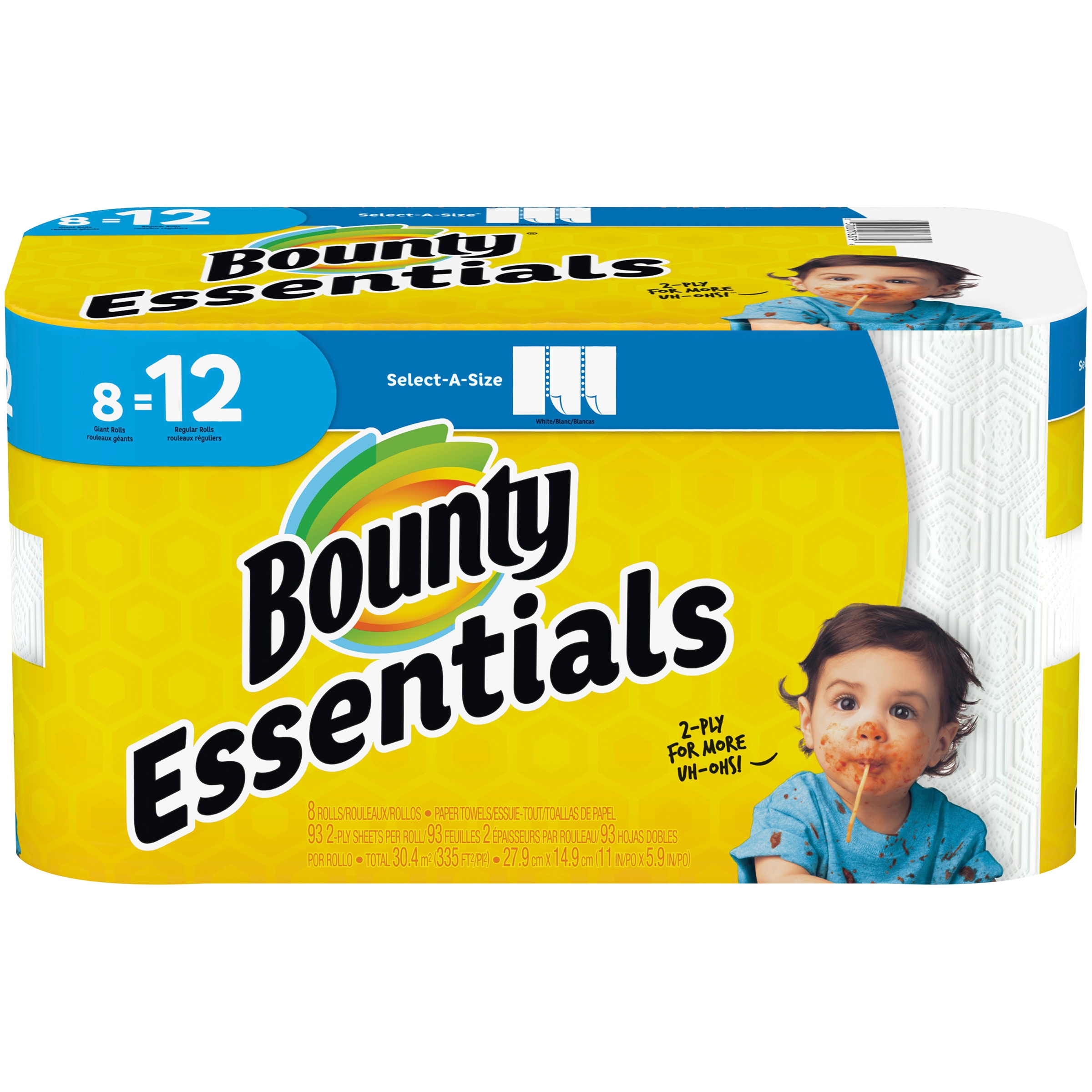 Bounty Essentials Paper Towels, Select-A-Size, 8 Giant Rolls