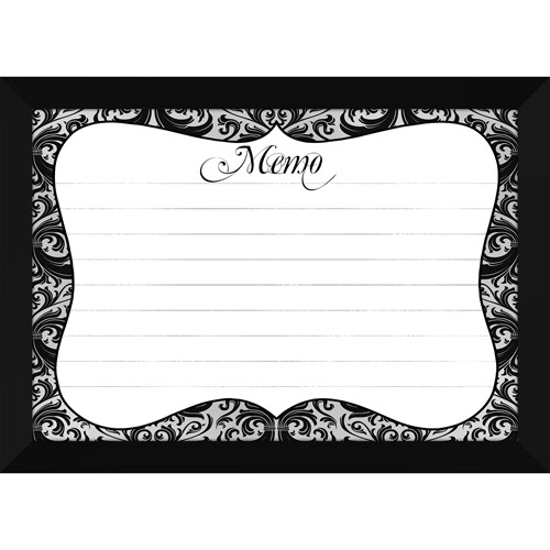 Black Damask Whiteboard