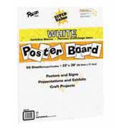 "Pacon Super Value Poster Board, 22"" x 28"", White, Pack of 50"