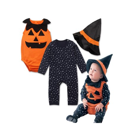 StylesILove Halloween Pumpkin Costume Pumpkin Vest, Romper and Hat 3-Piece (3-6 Months) (Pumpkin And Halloween)