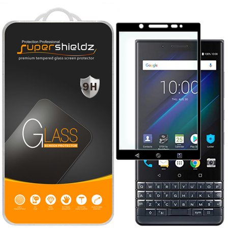 [2-Pack] Supershieldz for BlackBerry (KEY2 LE) [Full Screen Coverage] Tempered Glass Screen Protector, Anti-Scratch, Bubble Free (Black Frame) (Blackberry 8520 Screen Protector)