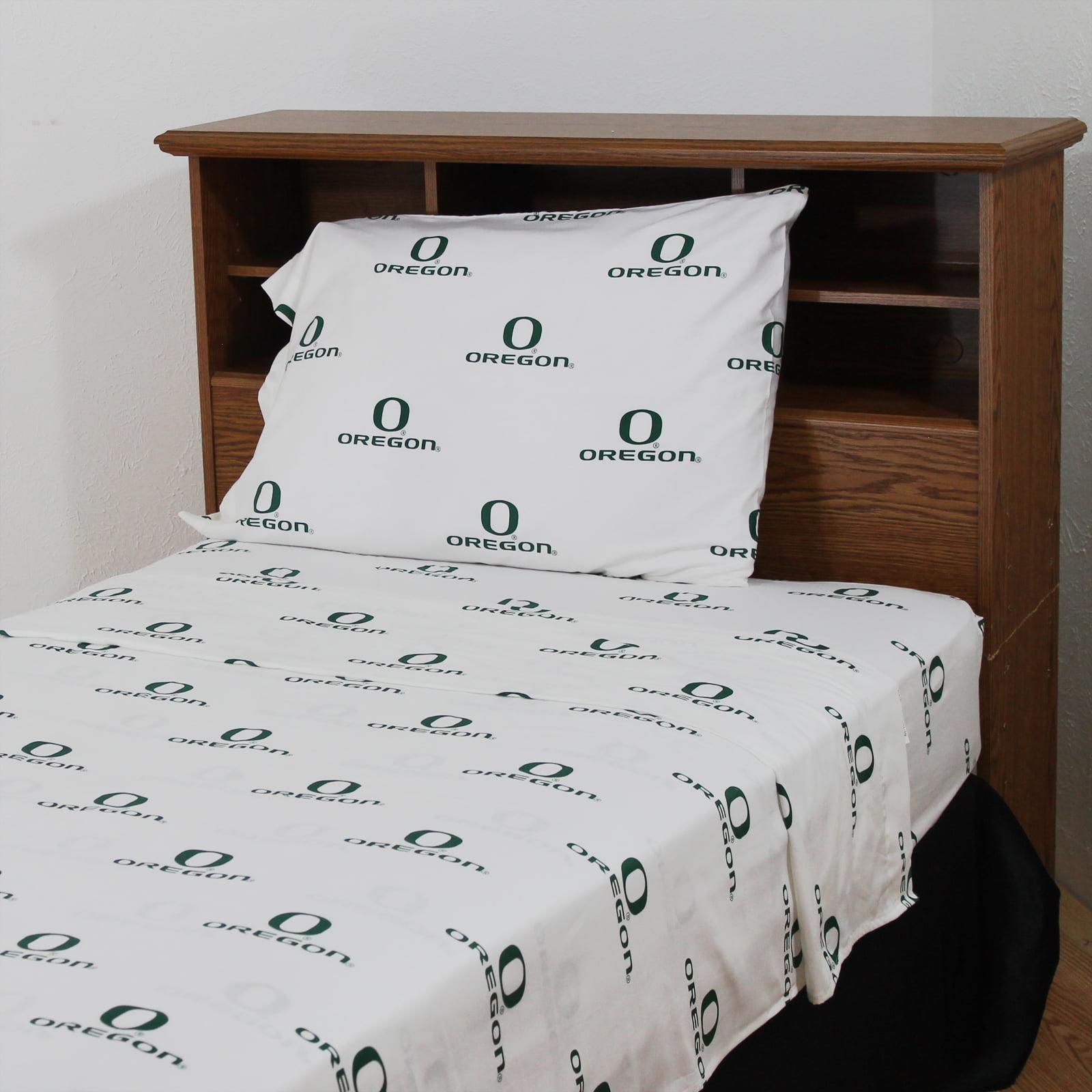Oregon Ducks 100% cotton, 4 piece sheet set - flat sheet, fitted sheet, 2 pillow cases, Queen, Team Colors