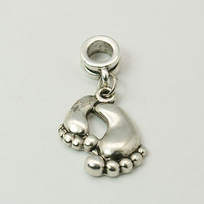 Antique Silver Finish Bare Feet Footprints Dangle Charm Bead. Compatible With Most Pandora Style Charm Bracelets. (Antique Charm)
