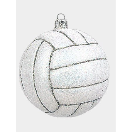 Volleyball Ball Polish Mouth Blown Glass Christmas Ornament Sports Decoration