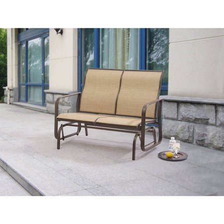 ... Tan Bench Chair Swing Outdoor Patio Porch Rocker Loveseat  eBay