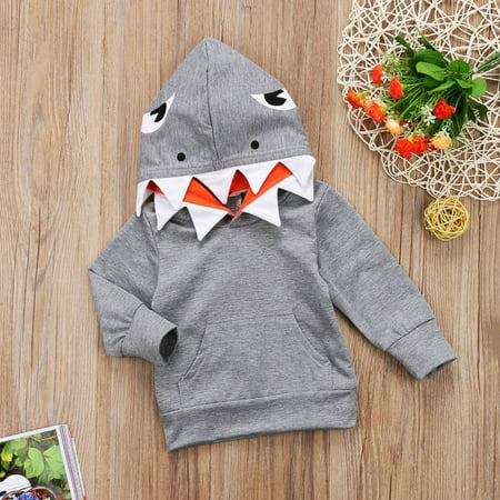 Leather Jacket For Kids Boys (Toddler Kids Boys Shark Hooded Tops Hoodie Pocket Jacket Coat Outerwear)