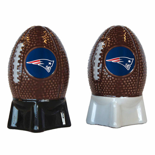 NFL Patriots Football Shaped Salt and Pepper Shakers