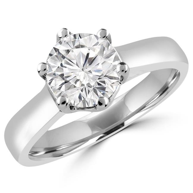 Majesty Diamonds MD170092-5.75 0.5 CT Round Diamond Solitaire Engagement Ring in 18K White Gold - Size 5.75 - image 1 of 1