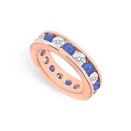 Created Sapphire and CZ Eternity Bands 4 CT. TGW. Channel Set in 14K Rose Gold Vermeil - image 1 of 2