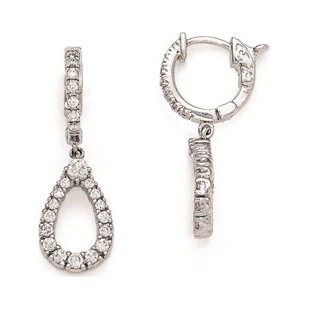 925 Sterling Silver Rhodium Plated CZ Hinged Hoop Dangle Teardrop (10x30mm) Earrings - image 1 of 1