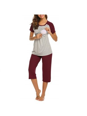PatPat Women Maternity 2-piece Pretty Color Block Nursing Pajama Set