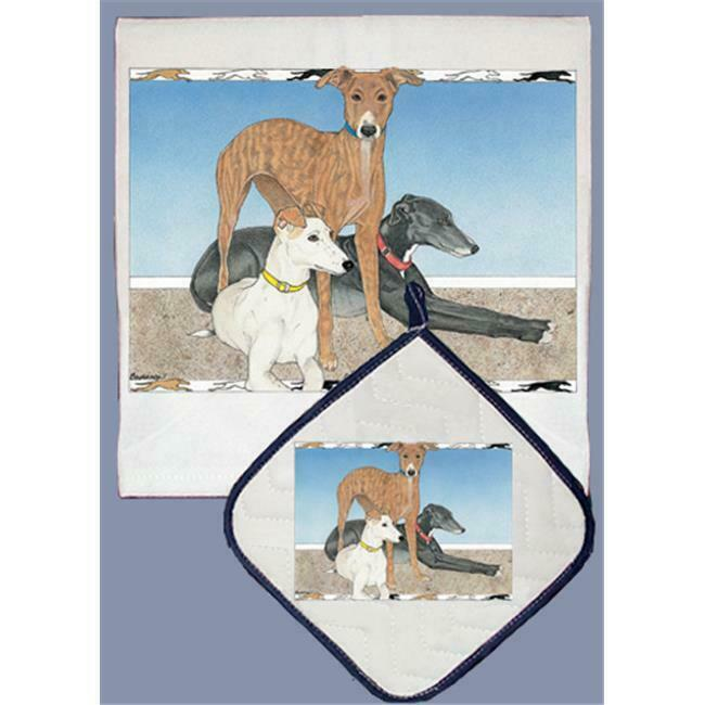 Pipsqueak Productions Dp867 Dish Towel And Pot Holder Set Greyhound Trio Walmart Com Walmart Com