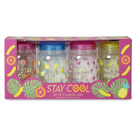 Charming Charlie Mason Jar Plastic Cups Set - Large Break Resistant, BPA Free Mugs w/ Lid and Straw - 16 Ounces, Pack of 4