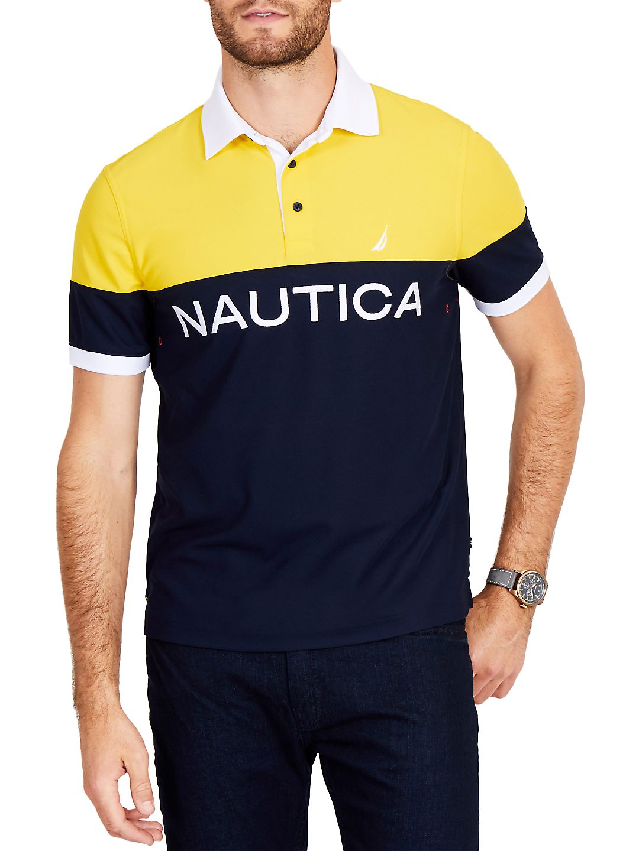Nautica Mens Classic Fit Navtech Colorblock Polo