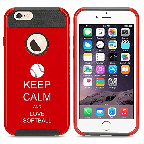 Apple iPhone SE Shockproof Impact Hard Soft Case Cover Keep Calm and Love Softball (Red),MIP