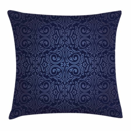 Indigo Throw Pillow Cushion Cover, Victorian Vintage Ancient Royal Times Inspired Floral Leaves Swirls Image Artprint, Decorative Square Accent Pillow Case, 16 X 16 Inches, Dark Blue, by Ambesonne
