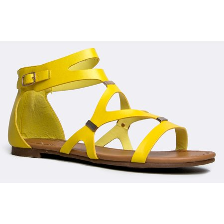 5d382928e Strappy Women s Gladiator Thong Flat Sandals- Casual Dress Low Flat Heel-  Ankle Strap Cut