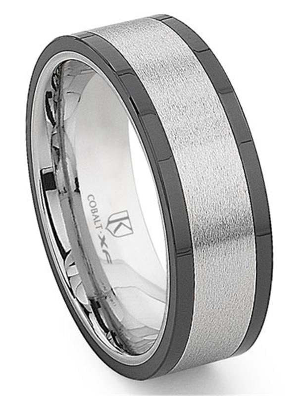 Stainless Steel Matte Finished 2 Color Fleur De Lis Flower Comfort Fit Flat Band Ring