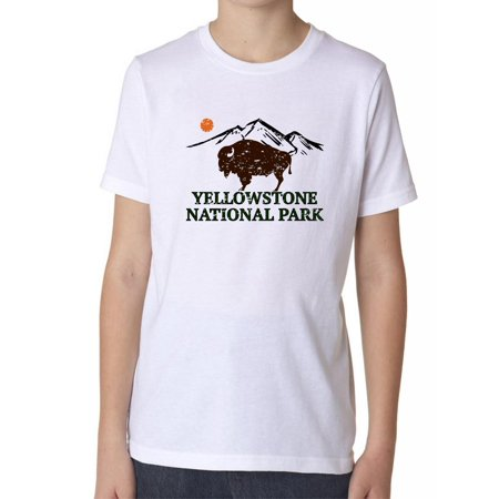 70s Clothes For Kids (Yellowstone National Park - Bison 70s Retro Design Boy's Cotton Youth)