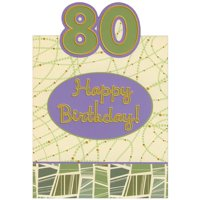 Designer Greetings Green and Purple Die Cut Top Fold with Gold Foil 80th Birthday Card