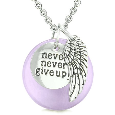 Angel wing inspirational never never give up amulet purple simulated angel wing inspirational never never give up amulet purple simulated cats eye pendant 18 inch necklace aloadofball Images