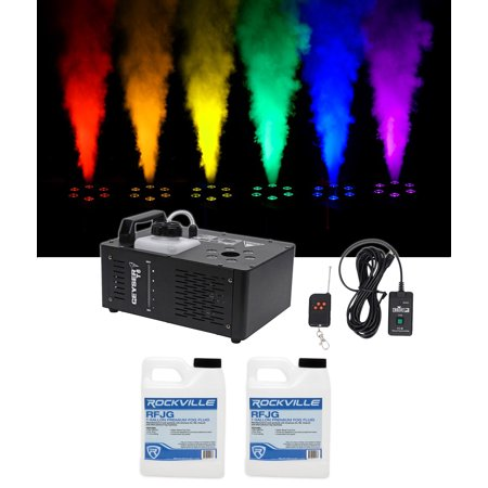 Chauvet DJ Geyser T6 Fog Machine Fogger, RGB Pyrotechnic Light FX+Remote+Fluid - Bubble Fogger