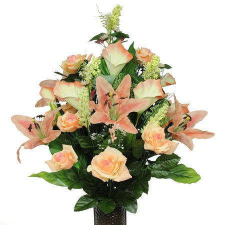 Peach Rose, Stargazer, and Lilies Artificial Bouquet, featuring the Stay-In-The-Vase Design(c) Flower Holder (LG1017) (Gala Bouquet Holder)