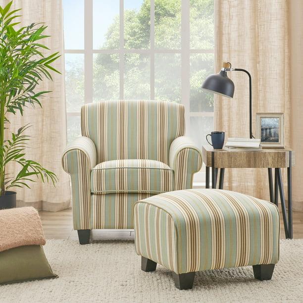 handy living mira summer aqua blue stripe arm chair and