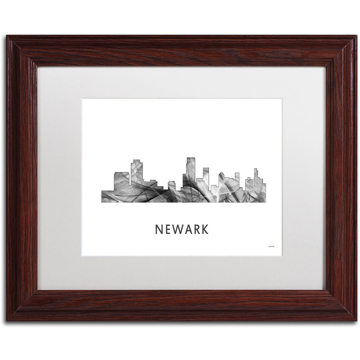 Trademark Fine Art 'Newark New Jersey Skyline WB-BW' Canvas Art by Marlene Watson, White Matte, Wood Frame