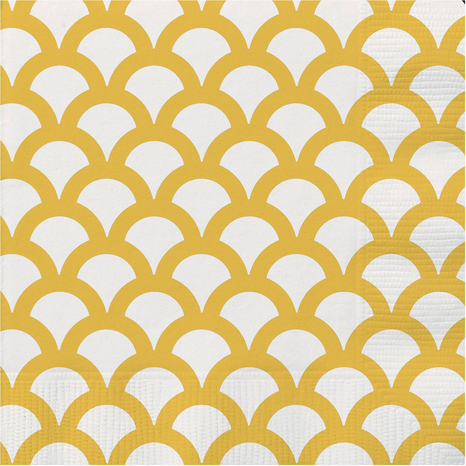 Yellow Scallop Beverage Napkins, 30-Count