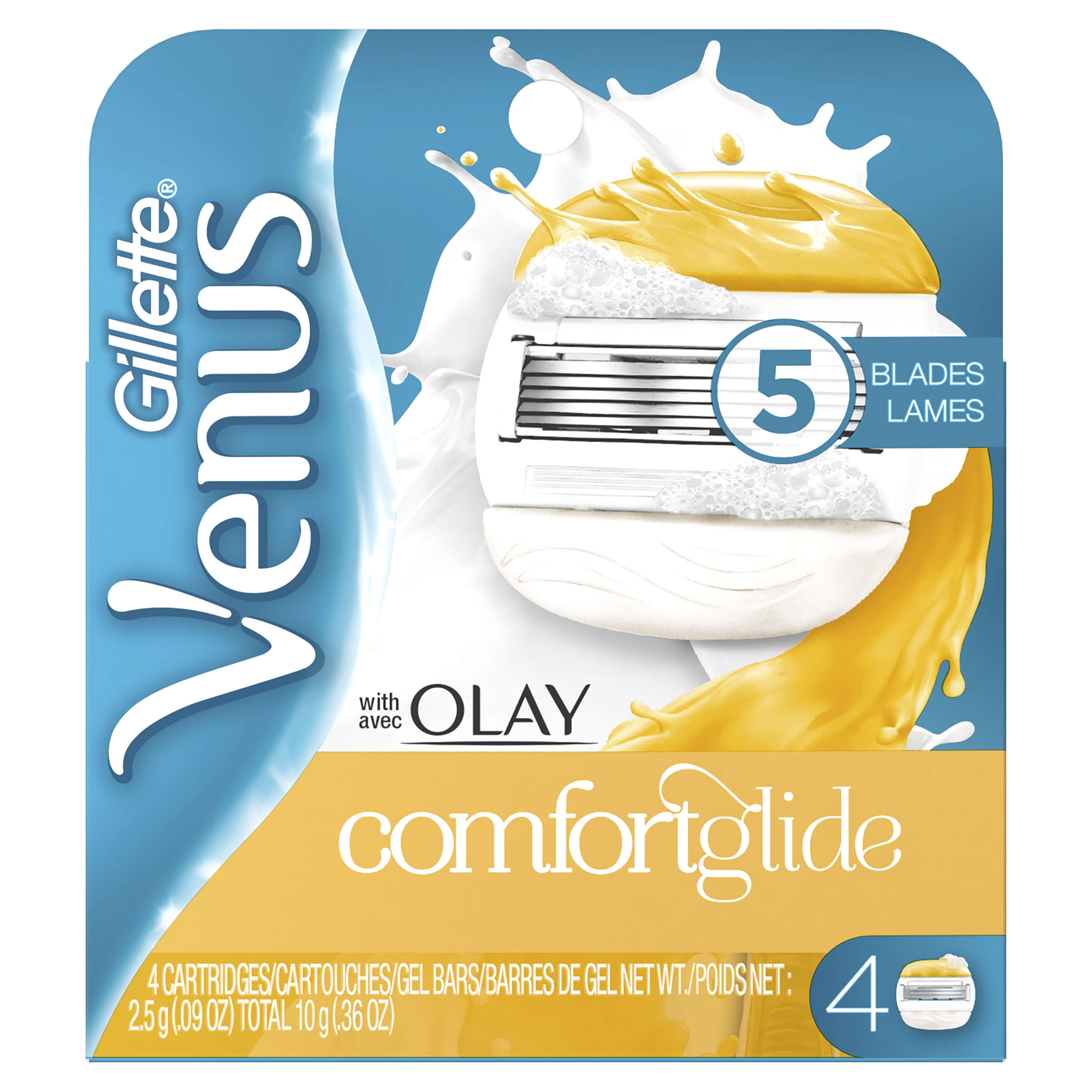 Gillette Venus ComfortGlide Olay Razor Replacement Cartridges, 4 ct