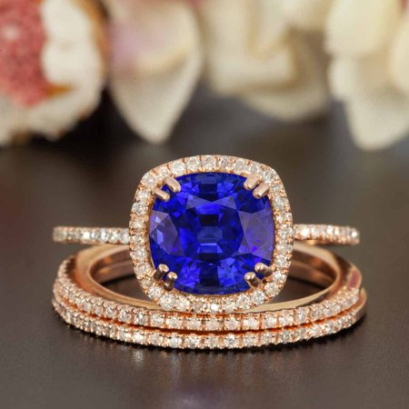 2 Carat Cushion Cut Real Sapphire and Diamond Wedding Trio Ring Set with Engagement Ring and 2 Wedding Bands in 18k Gold Over Silver 24k Set Ring
