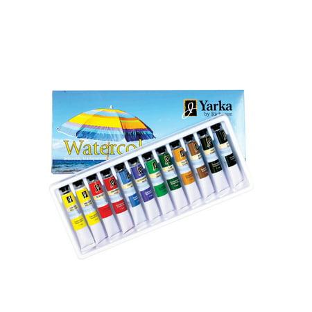 Watercolor 12 Ml Set - Yarka Non-Toxic Watercolor Paint Set, 7.5 ml Tube, Assorted Bright Color, Set of 12