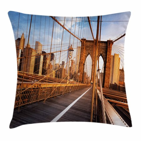 - United States Throw Pillow Cushion Cover, Early Morning on Famous Brooklyn Bridge NYC Architecture, Decorative Square Accent Pillow Case, 16 X 16 Inches, Light Brown Grey Light Blue, by Ambesonne