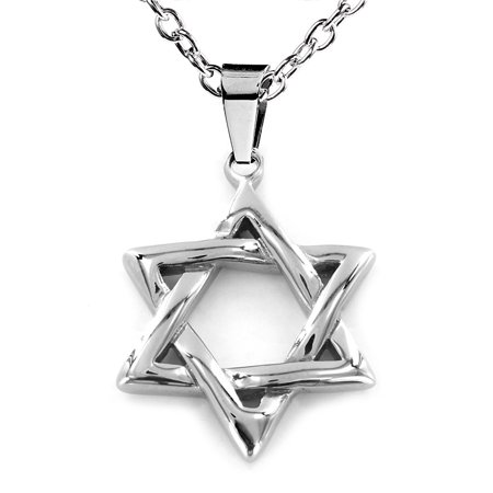 Polished 'Star of David' Stainless Steel Pendant Necklace - 19