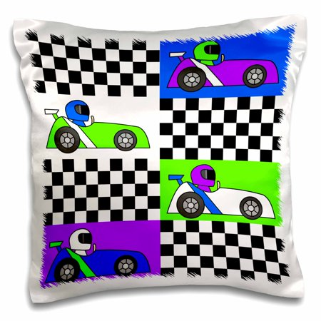 3dRose Boy Stuff Blue Purple Green Racecars Checkered Flag Design - Pillow Case, 16 by - Blue Checkered Flag