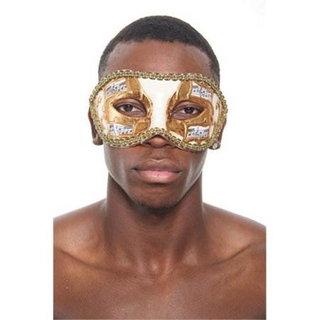 Kayso PM019 Gold Venetian Plastic Masquerade Mask with Musical Design & Gold Contour - Extreme Contouring Halloween