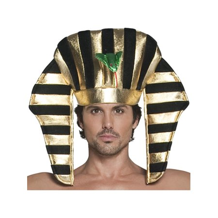 Mens Ancient Egyptian Pharoah Black And Gold Headpiece Costume Accessory