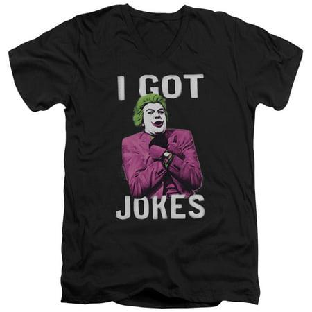 Joker Hat Batman (Batman Classic TV Series Joker I Got Jokes On Black Adult V-Neck T-Shirt)