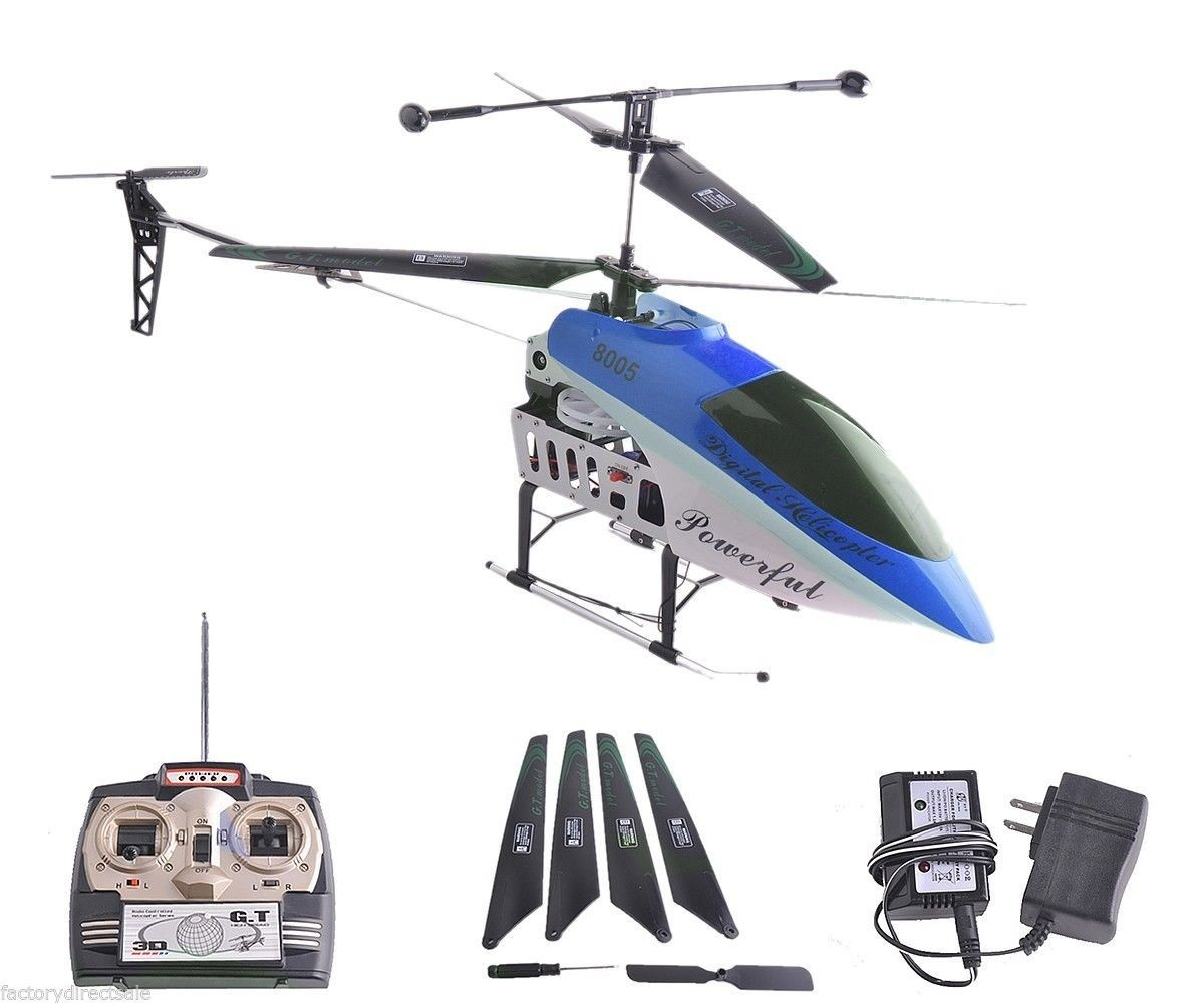 """42 Inch 2 Speed GT QS8005 3.5 Ch 42"""" RC Helicopter Builtin GYRO New VERSION Blue by Apontus"""