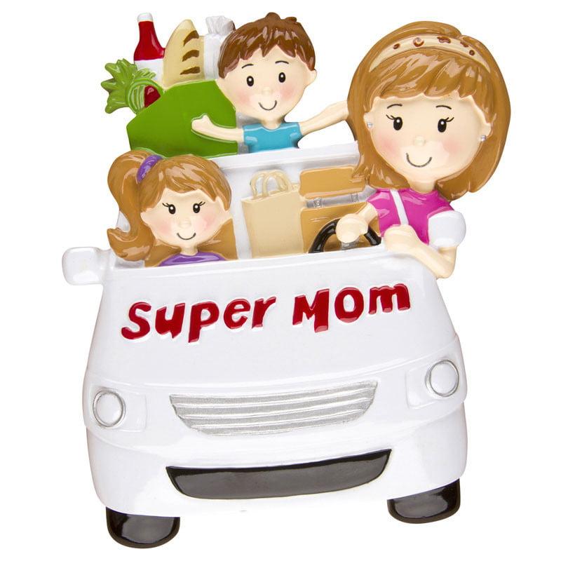 Super Mom Minivan Personalized Christmas Ornament DO-IT-YOURSELF