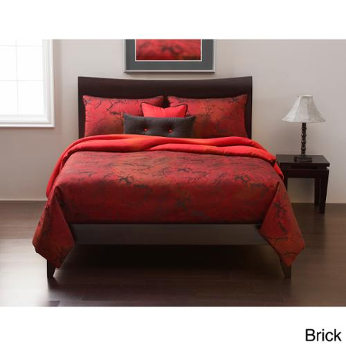 Cherry Blossom 6-piece Duvet Cover set: Comforter insert included Brick Cal King